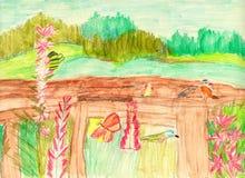 Children's drawing  summer landscape. Meadow with flowers, birds, butterflies Stock Photos