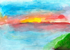 Children's drawing  summer sunset. Children's drawing landscape sunset on the water in summer Royalty Free Stock Photo