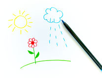 Free Children S Drawing Sun And Flower Royalty Free Stock Photo - 16038225