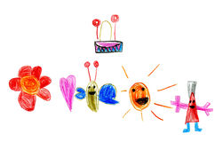 Children's drawing of the sun, butterfly, flower and drum Royalty Free Stock Photo