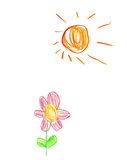 Children's drawing sun and flower Stock Photos
