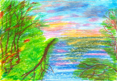 Children's drawing sunset on the river. Children's drawing landscape sunset on the river in summer Royalty Free Stock Photos