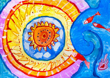 Children`s drawing. Sunshine and red fish Royalty Free Stock Images