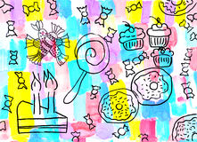 Children's drawing of a sweets background Royalty Free Stock Photos