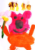 Children's drawing Teddy bear and bees Stock Photos