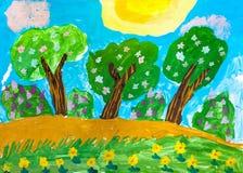 Children`s drawing. Three green tree Stock Image