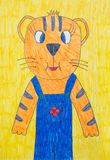 Children's drawing of tiger Royalty Free Stock Photography