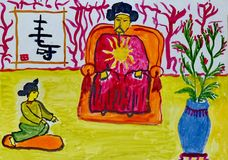 Children`s drawing to the Chinese fairy tale `Fairytale without end` - `The young man tells the emperor a fairy tale.` royalty free illustration