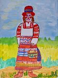 Children`s drawing to fairy tale Charles Perrault `Little Red Riding Hood`. Gouache on paper. Naive Art. Abstract art. royalty free illustration