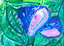 Children`s drawing. Two blue flower Stock Photography