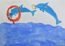 Children`s drawing: two dolphins jumping out of water and through the ring. Circus on the pool concept. stock illustration