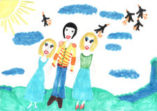 Children's drawing Two girl  one boy Brother and sister Royalty Free Stock Photos
