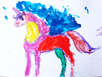 Children. & x27;s drawing unicorn Royalty Free Stock Photos