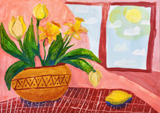 Children`s drawing. Vase with spring flowers at window Stock Photo