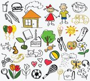 Children's drawing, the vector Stock Images