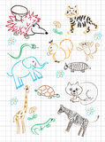 Children`s drawing. Vector elements of design stylised under children`s drawing a pencil. A sketch of animals Stock Photography