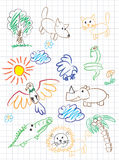 Children`s drawing. Vector elements of design stylised under children`s drawing a pencil. A sketch of animals, birds and plants Stock Images