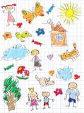 Children`s drawing. Vector elements of design stylised under children`s drawing a pencil. Sketches on the theme of home, family and animals Royalty Free Stock Photos
