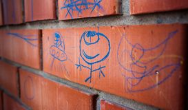 Children`s drawing on the wall Royalty Free Stock Images