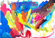 Children S Drawing Water Color Paints Royalty Free Stock Image