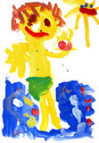 Children's drawing water color paints Royalty Free Stock Image