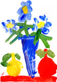 Children's drawing water color paints. Children's drawing watercolor paints. Still life with flowers vector illustration