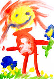 Children's drawing water color paints Royalty Free Stock Photos