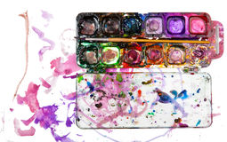 Children's drawing water color paints Royalty Free Stock Images