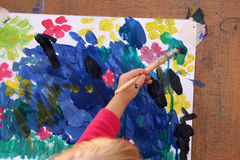 Children`s drawing water color paints and brush Stock Photography