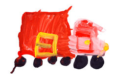 Children's drawing water color paints. Red truck Royalty Free Stock Image