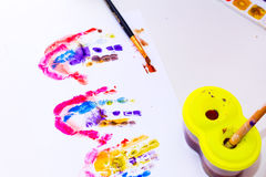Children's drawing water color on paper. Stock Photos