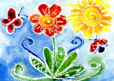 Children's drawing a watercolor. Watercolor a flower the butterfly and a ladybird against the sun and the blue sky Stock Photos