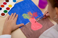 Children`s drawing watercolor. Royalty Free Stock Photos