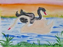 Children`s drawing `The white and Black swan on the lake`. Gouache on paper. Naive Art. Abstract art. Painting gouache on paper. Children`s creativity stock illustration