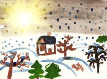 Children's drawing of winter Royalty Free Stock Photography