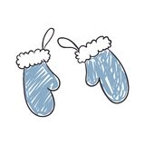 Children's Drawing of Winter Gloves Stock Images