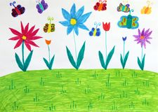 Free Children`s Drawing With Butterflies Trees And Flowers. Childish Drawing Stock Photo - 120469050
