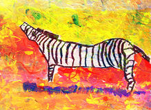 Children's drawing of zebra outdoors Stock Image