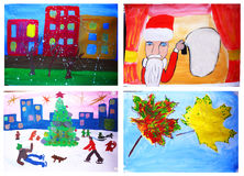 Children S Drawings Royalty Free Stock Images