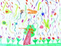 Children's drawings. Photograph image of a 7 year old childs art work Royalty Free Stock Images
