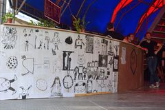 Children's drawings on a bar Stock Photo