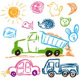 Children`s drawings. Elements for the design of postcards, backgrounds, packaging. Printing for clothing. Truck with sand, cars, sun, faces stock illustration