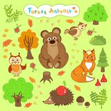 Children's drawings of cute forest animals Stock Photo