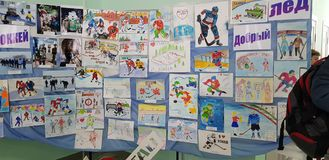 Childrens drawings dedicated to hockey at an exhibition in the house of creativity