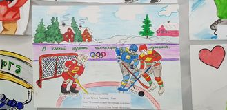 Children`s drawings dedicated to hockey at an exhibition in the house of creativity