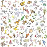 Children's drawings of doodle animals,vector Stock Image