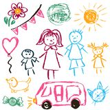 Children`s drawings. Elements for the design of postcards, backgrounds, packaging. Printing for clothing. Family, sun, ball, dog car cat royalty free illustration