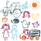 Children`s drawings. Elements for the design of postcards, backgrounds, packaging. Printing for clothing. Tractor, truck, woman, man sun faces stock illustration