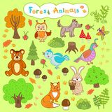 Children's drawings forest animals Royalty Free Stock Photos