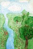 Children's drawings. Landscape. Freehand drawing Royalty Free Stock Image